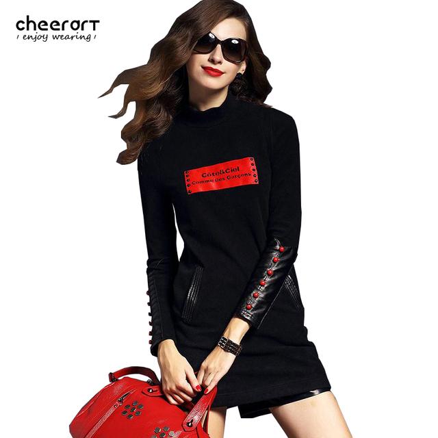 2017 primavera mulheres casual impressão preto vermelho de couro manga gola alta de malha bodycon magro mini dress estilo europeu