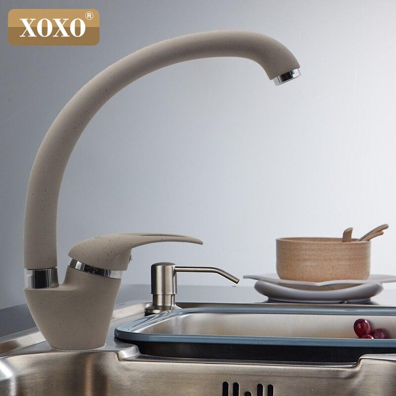 XOXO Style Moderne Maison multicolore Cuivre Robinet de Cuisine D'eau Froide et D'eau Chaude Robinet Simple Poignée Noir Blanc Kaki 3309BE - 5
