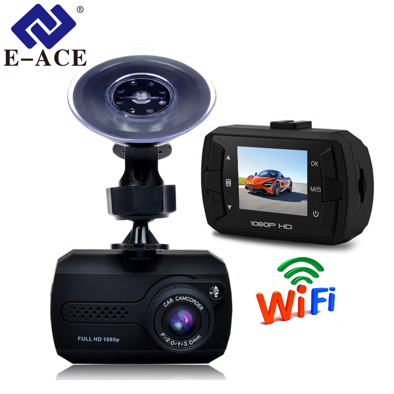 E-ACE Mini Wifi Car Dvr Full HD 1080P Dash Camera 1.5 Inch Recorder Video Automovil Registrator Dash Cam Camcorder Recorder цена