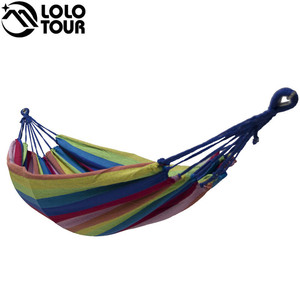 Image 5 - High Strength Thicken Single Canvas Fabric Hammock Garden Sleeping Casual Hamak  Outdoor Hamac  Swing Hamaca Travel 200*100cm