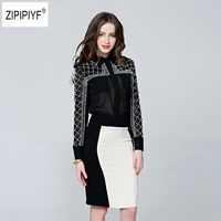 2018 New Spring Fashion Long Sleeve Casual See though Sexy Women Blouse Turn Down Collar Pearl Beading Shirt OL Tops B1114