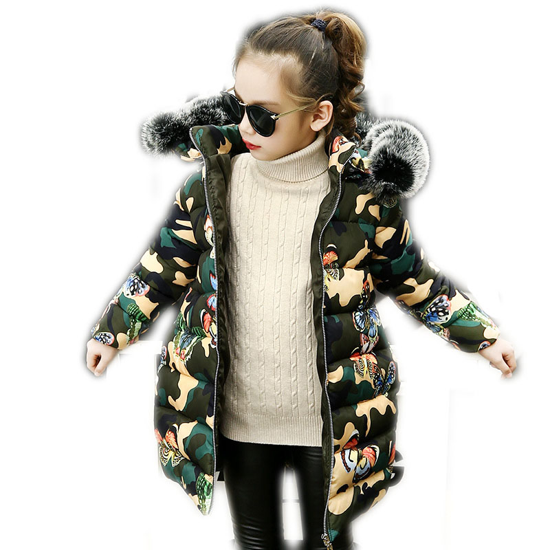 2018 Winter Children Down Cotton Coats Big Girls Warm Thick Camouflage Jackets Teenage Cotton Padded Parkas Hooded Outerwear P75 fdfklak thick long winter jacket women cotton padded parkas women s winter coats jackets outerwear female warm parka mujer b044