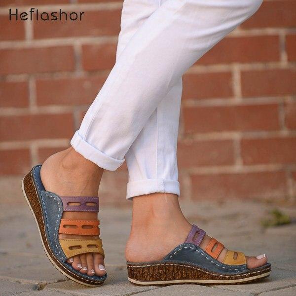 HEFLASHOR Women Sandals Platform Wedge Stitching Slides Casual-Shoes Open-Toe Summer