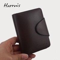Harrms Brand Genuine Leather Fashion Solid Short Designer Luxury Genuine Leather Wallet Men 2015