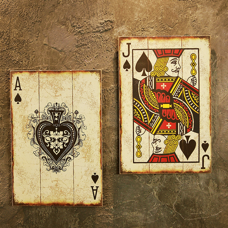 Retro CARDS Wooden Poker for Sign Hotel/Cafe /Bar Wall Decor Sign ...