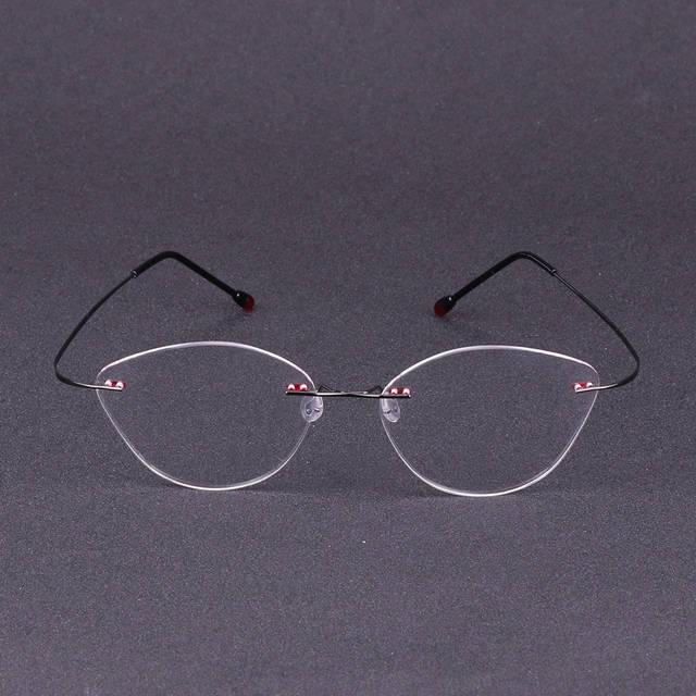 c915a4d16c placeholder 2017 Women Cat Eye Glasses Frame Myopia Rimless Eyeglasses  Ultralight Eye Wear Metal Gafas Oculos De