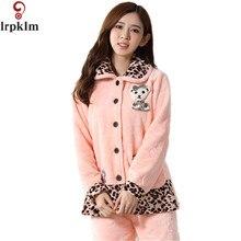 2017 Women's Pajamas Winter Thickening Coral Fleece Leopard Print Coat Sleepwear Girls Flannel Lounge Pajama Set M-XXL SY806