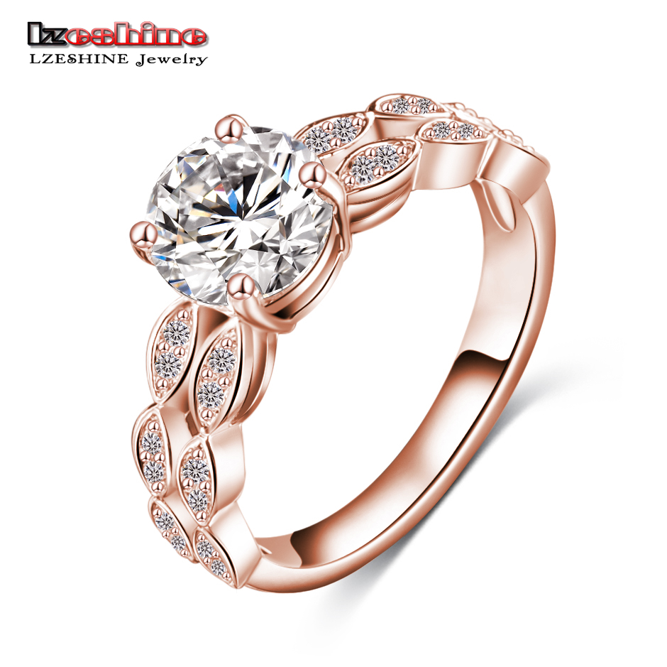 LZESHINE AAA Zircon Engagement Rings Women Rose Gold Color Wedding Rings Female Austrian ...