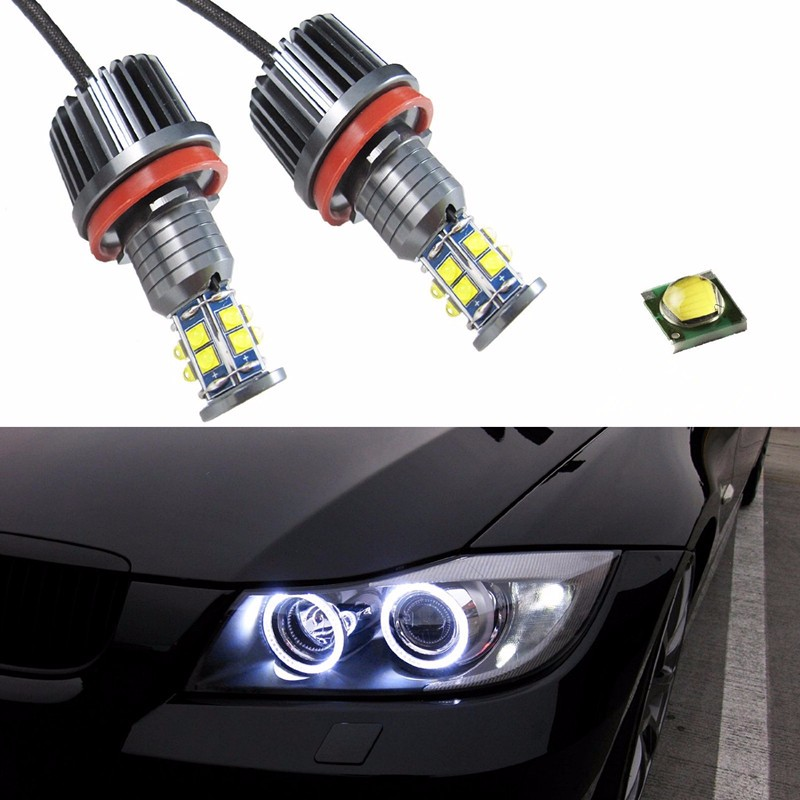 Pair White H8 120W CREE LED Chip Angel Eye Halo Ring Marker Bulbs For BMW F01 F02 7-Series 740i 750i 2200 Lumen Error Free стоимость