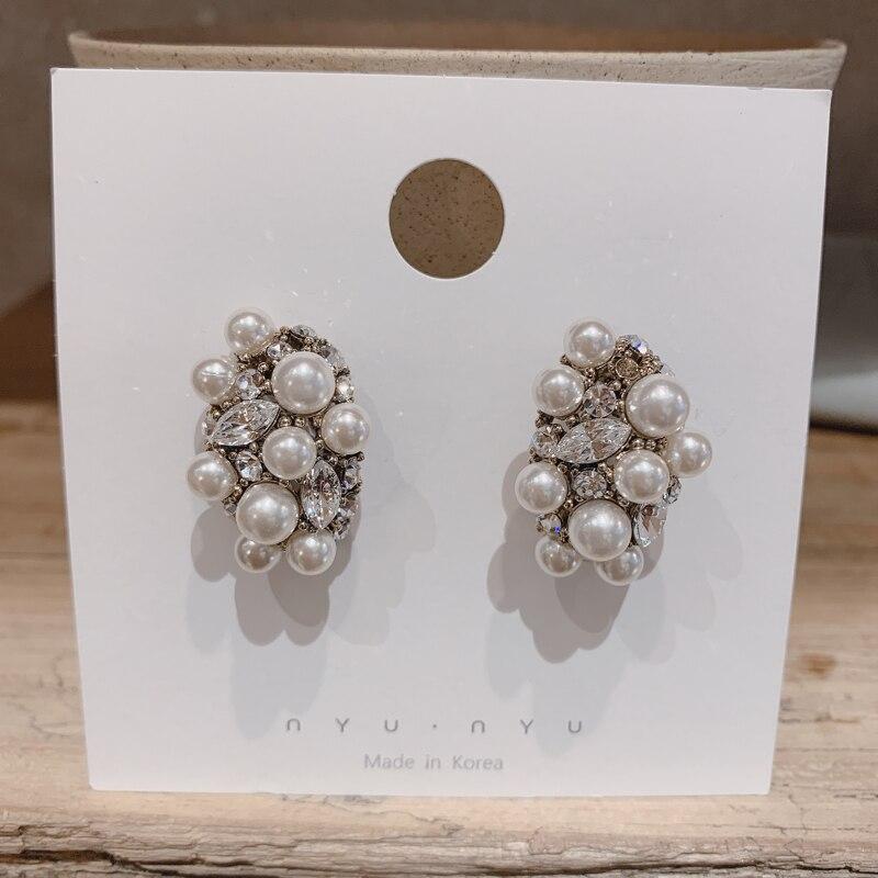 Купить с кэшбэком MENGJIQIAO 2019 Korean New Vintage Baroque Simulated Pearl Crystal Stud Earrings For Women Elegant Jewelry Oorbellen Girls Gifts