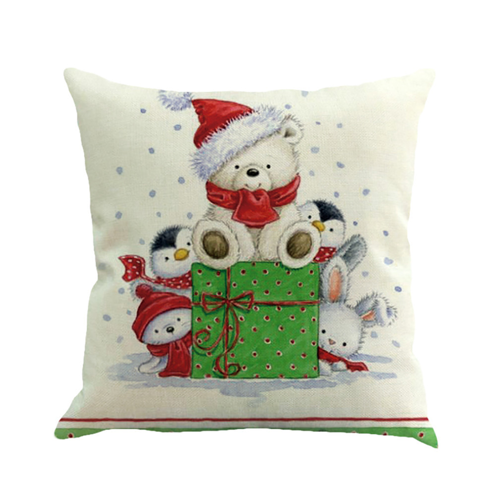 Christmas Xmas Linen Cushion Cover Throw Pillow Case Home: 4PC Christmas Cotton Linen Sofa Car Home Waist Cushion