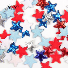 JOJO BOWS 30pcs 5mm Glitter Sequin Patch Synthetic Leather Patchwork Solid Star For Apparel Sewing Materials DIY Hair Bows Craft