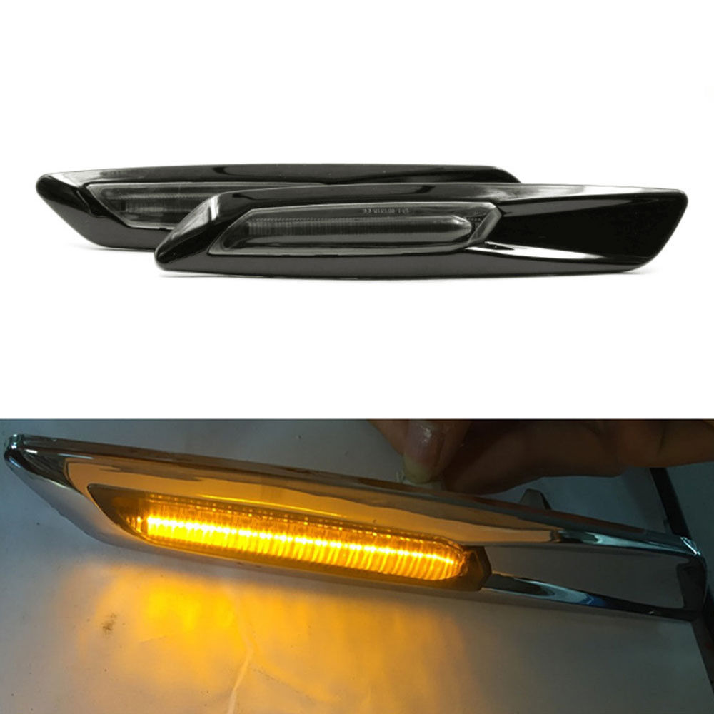 BBQ@FUKA 2pcs Amber/White 18LED Fender Side Marker Turn Signal Light For BMW 1/3/5 Series E81 E87 E90 E91 E92 E93 E60 E61