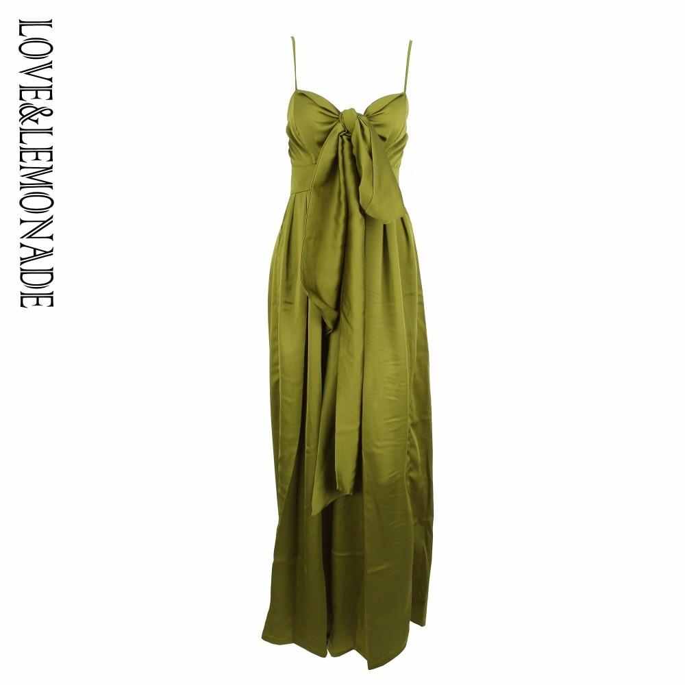 Love&Lemonade Green Loose Straps Bow Waistsuit Jumpsuit LM0878