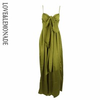 Love&Lemonade Green Loose Straps Bow Waistsuit Jumpsuit LM0878