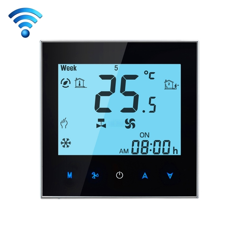 цена на WIFI Control Weekly Programming Fan Coil Room Thermostat AC 110-240V 2A Smart Central Air Conditioning Temperature Controller