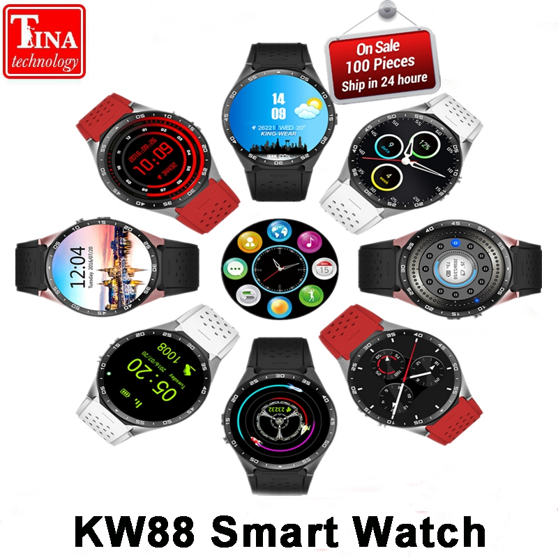 Original KW88 Electronics 3G WCDMA WIFI 1.39Smartwatch Cell Phone All-in-One Heart Rate Monitor android 5.1 OS Smart watch