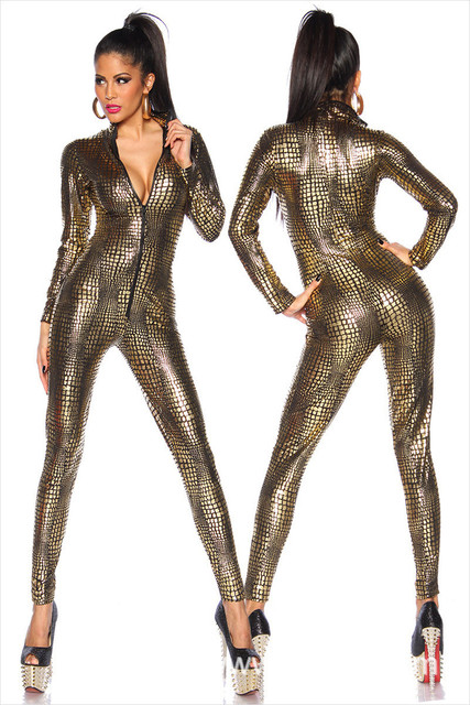 Sexy Black Wet Look Snake Jumpsuit PVC Latex Catsuit Nightclub DS Costumes  Women Bodysuits Fetish Patent Leather Game Uniforms afd4ff4f4