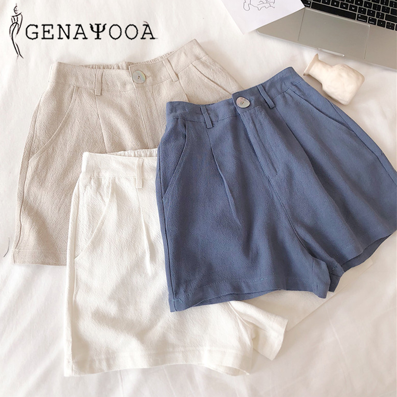 Genayooa Vogue High Waist   Shorts   Women Casual Summer Loose Wide Leg Solid Women   Shorts   White Fashion 2019 Hot Korean Style