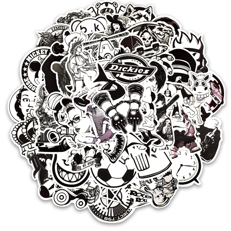 50pcs Black And White Bike Stickers Scooter Wheel Stickers Frame Guard Wheel Labels Bike Sticker Bicycle Decoration Bicycle Lamp