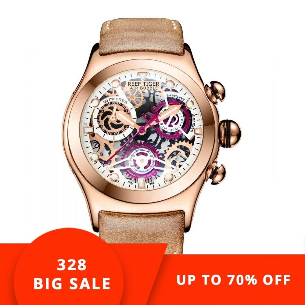 Reef Tiger/RT Хронограф Спортивные часы для мужчин Скелет циферблат с датой три счетчики световой розовое золото уникальные часы RGA792