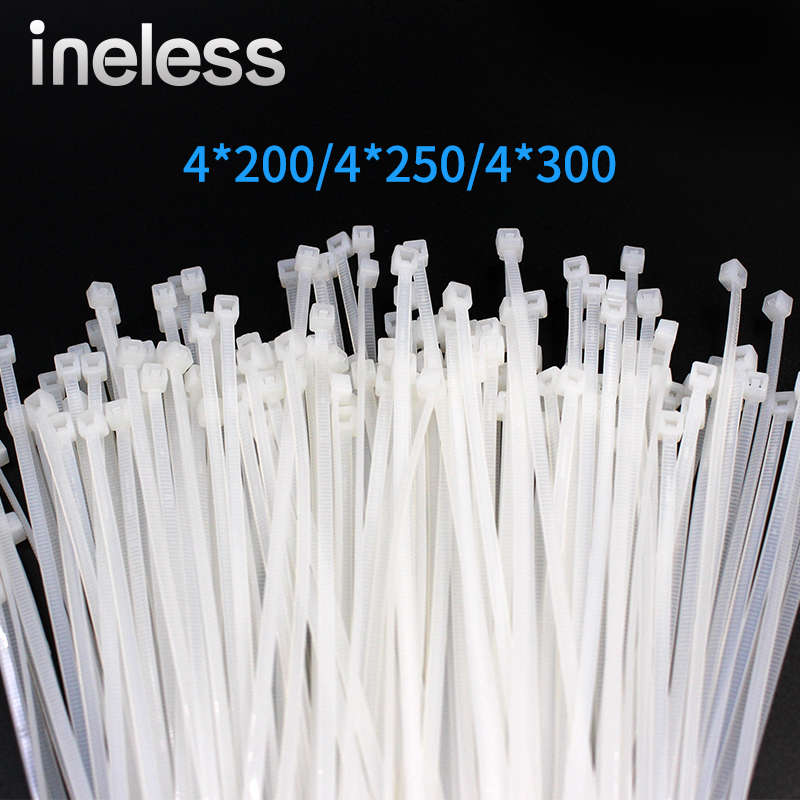 100PCS bag 4mmx300mm Width 5mm White Milk Cable Wire Zip Ties Self Locking Nylon Cable Tie
