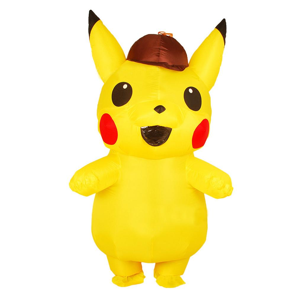 New Inflatable pokemon costume Purim Carnival detective pikachu Mascot Costume Animal Halloween Cosplay Costumes for Kids Adults