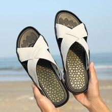 Flip flop sandalias de playa de los hombres ocasionales de Cuero genuino Nuevos Hombres De verano masaje zapatillas transpirable zapatos casuales masculinas
