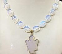 Hot sell New 13x18mm Sri Lanka Moonstone oval & Opal Angel pendant necklace 18 Bridal jewelry free shipping