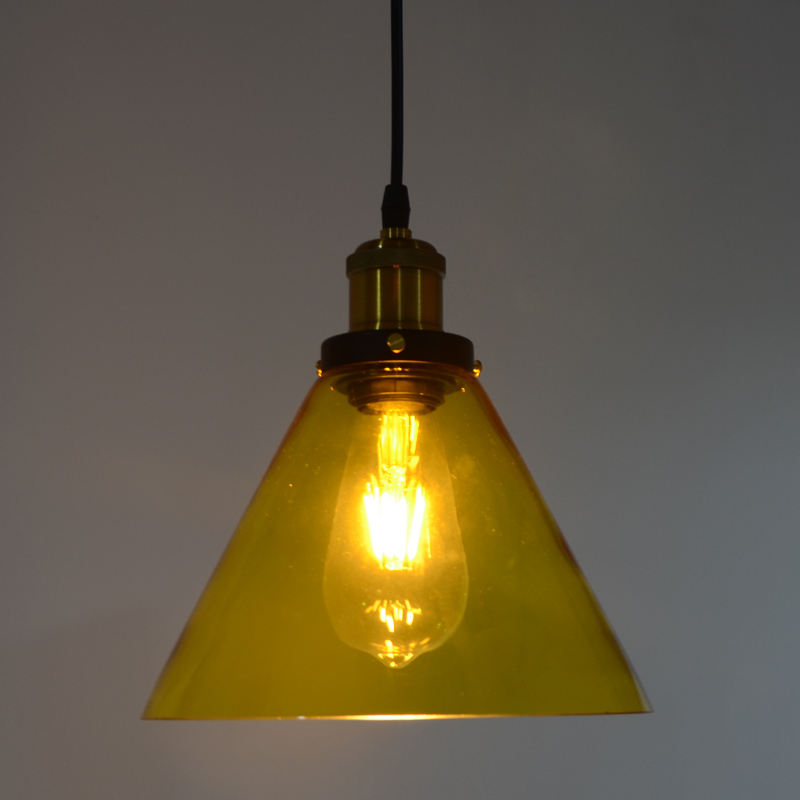 Yellow color Funnel filament pendant light American country l& Edison Bulb Meridian lighting 110 240V diameter 24cm*H24cm-in Pendant Lights from Lights ... & Yellow color Funnel filament pendant light American country lamp ... azcodes.com