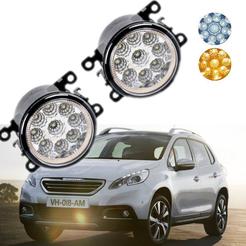 For Peugeot 2008 2013 2014 2015 2016 9-Pieces Leds Chips LED Fog Light Lamp H11 H8 12V 55W Halogen Fog Lights Car-Styling