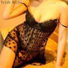 Trish Bella 2018 Lace transparent Camisole Wave Hollow Nightdress sexy lingerie lenceria underwear erotic porno babydoll