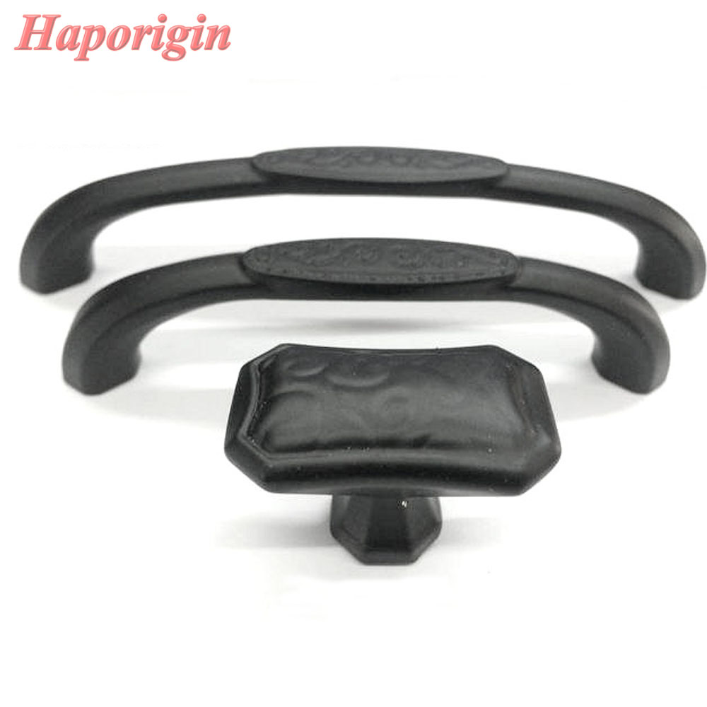 ₩2pcs Kitchen Cabinet Drawer Handles European Antique Black Cupboard ...