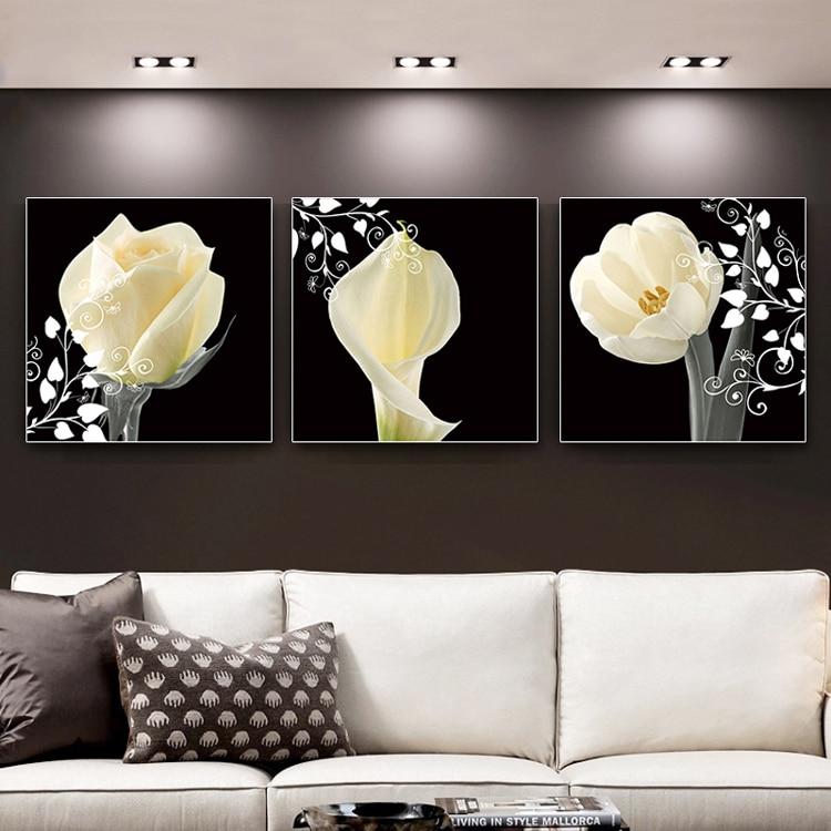 5D DIY Gyémántfestés Fehér Virágok Háromrészes Teljes - Művészet, kézművesség és varrás