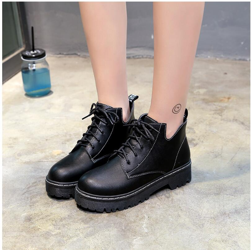 New Autumn Winter Female Ankle Boots Woman Genuine Leather Shoes Casual Lace-Up Short Boots Sewing Footwear Size 35-40 shoes woman genuine leather ankle boots flats shoes autumn boots suede leather 35 40 lace up free shipping bassiriana