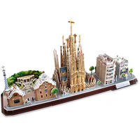 Classic Jigsaw Sagrada Familia Cathedral Barcelona Spain Empire State Puzzle Brick Toys scale Style Models Sets World Building