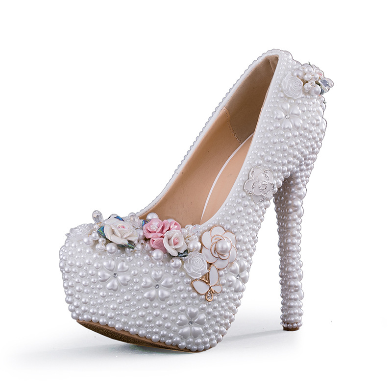 Crystal Flower Wedding Shoes Large Size Beaded Rhinestone Super High Heel Women Pumps with Platform Party Banquet Evening DressCrystal Flower Wedding Shoes Large Size Beaded Rhinestone Super High Heel Women Pumps with Platform Party Banquet Evening Dress