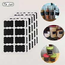 48Pcs/Set Blackboard Sticker Craft Kitchen Jar Organizer Labels Chalkboard Chalk Board Stickers Black