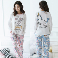 Unicorn Pajamas Autumn Winter Women Cotton Pajama Sets Cartoon ELMO Home Wear Suits Long Sleeves Pajamas for Women Sleepwear