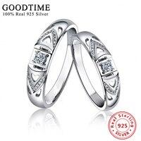1 SZTUK Srebro Obrączki Fine Jewelry 925 Sterling Silver Ring Inlay GTR034 Cyrkonu Pierścienie dla Kobiet Biżuteria