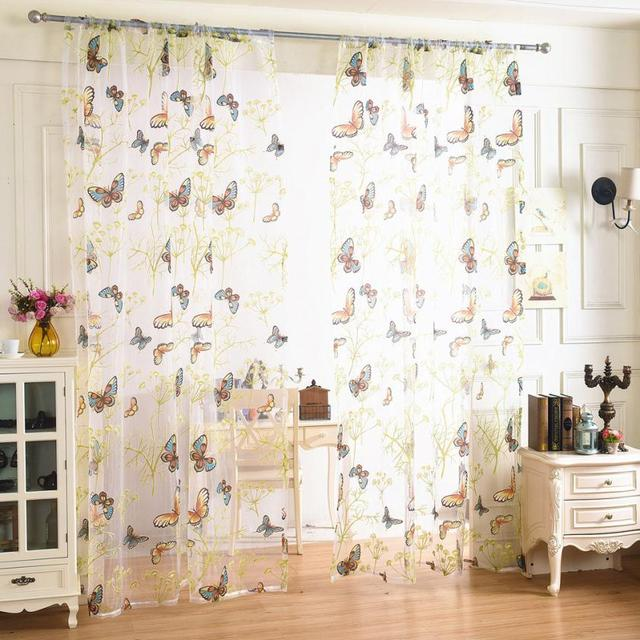 Exceptionnel Butterfly Sheer Curtain Tulle Window Treatment Voile 1 Fabric Short Curtains  For Kitchen Curtains For Bedroombutterfly