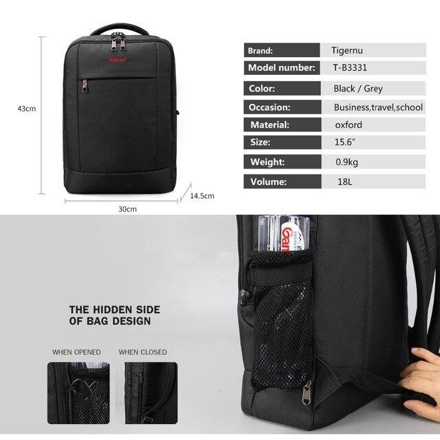 Tigernu USB Charger15.6 inch Laptop Backpack Women Men Slim Laptop Backpacks Bags Men Casual Daily School Bag for Teenagers 2