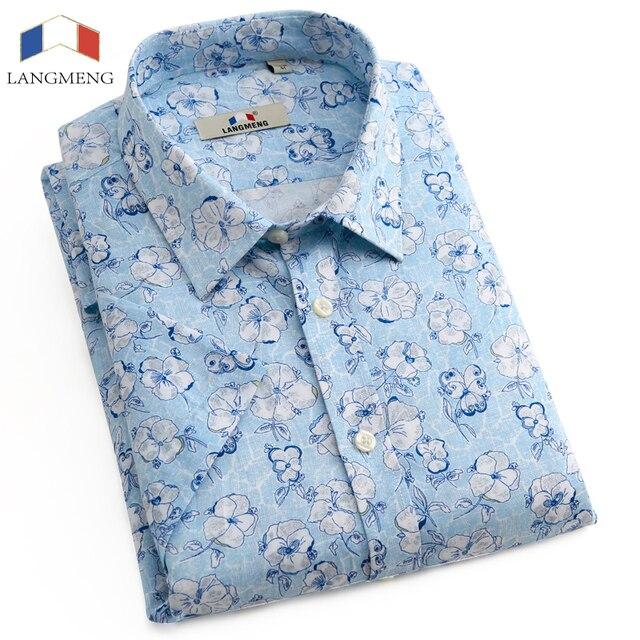 Langmeng 2016 Fashion Men Shirt Casual Slim Fit Camisa Masculina de Manga Curta de Alta Qualidade Vestido Floral Impresso Camisas