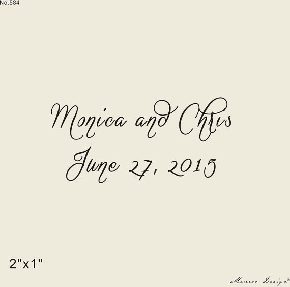 Save The Date Stamp Custom Rubber Initial With Heart Script Font Logo 2x1
