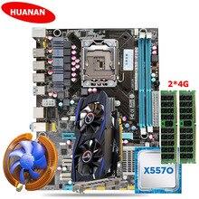 HUANAN X58 LGA1366 font b motherboard b font CPU memory set Xeon X5570 RAM 2 4G