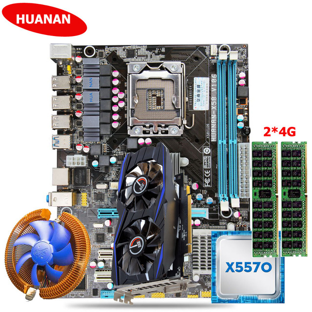 HUANAN X58 LGA1366 motherboard CPU memory set Xeon X5570 RAM (2*4G)8G DDR3 server memory RECC GTX750Ti 2G DDR5 video card