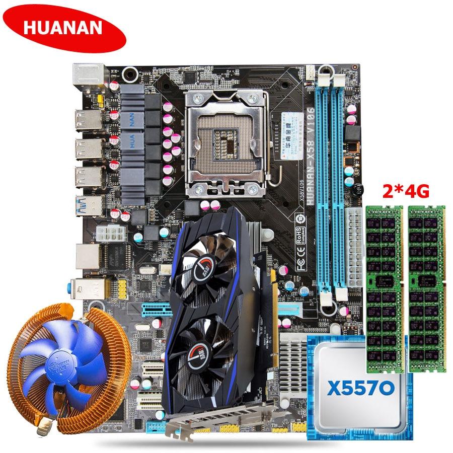 Горячие huanan X58 LGA1366 материнской Процессор набор памяти GTX750Ti 2 г видео карты Процессор Xeon X5570 Оперативная память 8 г (2*4 г) DDR3 памяти сервера recc