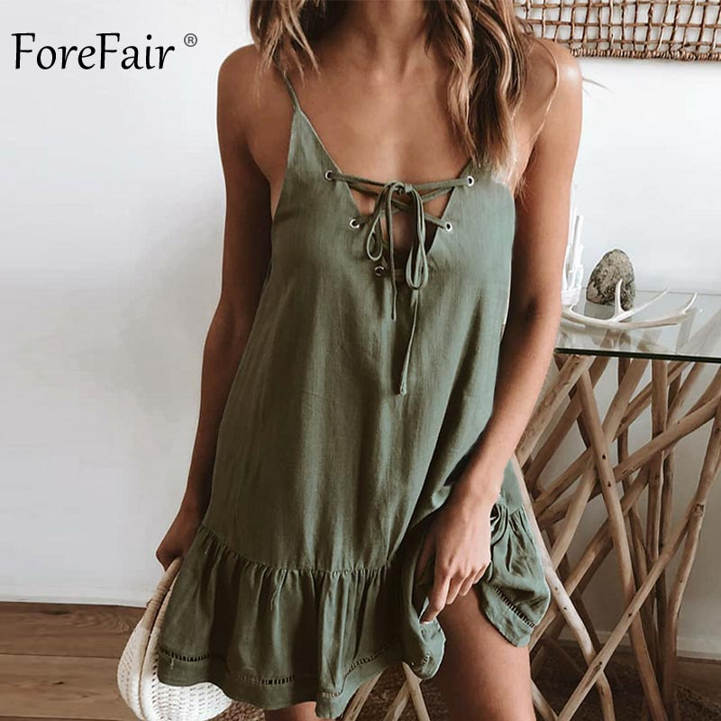 Forefair Summer Cotton Linen Dress Women A Line Mini (3)