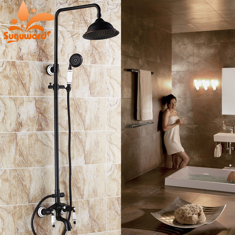 Ceramic Style Oil Rubbed Bronze 8-inch Rainfall Shower Faucet Tub Mixer Tap with Hand Spray
