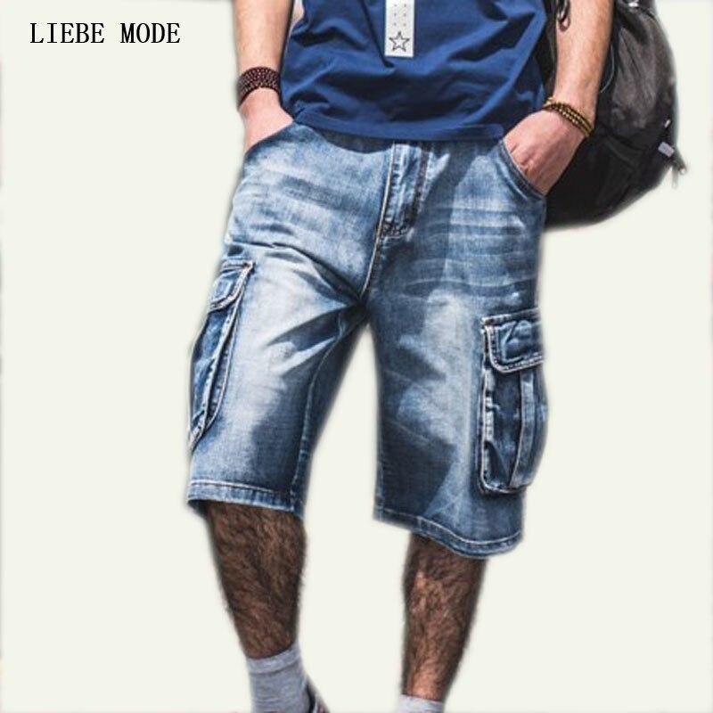 17739e171353f Plus Size Mens Denim Biker Baggy Cargo Blue Jeans Shorts For Big Men Loose  Fit Shorts